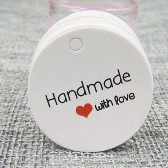 Бірки, теги для упакування виробів Hand made, бирки хенд мейд