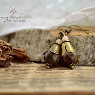 Серьги ′Горький шоколад′