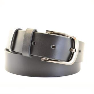 Испанский чёрный матовый ремень шириной 4 см с серой пряжкой, Стиль - унисекс.