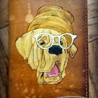 Кожаная обложка на паспорт Пес