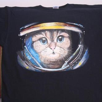 футболка ручная роспись ручний розпис принт подарок парню кот космонавт космос ручная робота