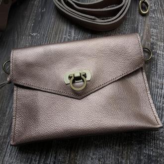 "Поясная сумка из натуральной кожи  ""Інфініті"" 048 (бронза)."