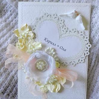 Нежная и воздушная открытка на свадьбу !
