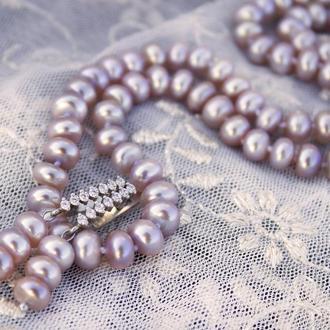 Серебро и натуральный лавандовый жемчуг комплект украшений