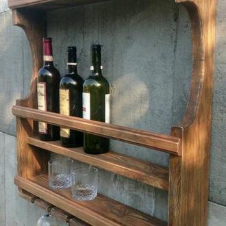 Большая настенная винная полка с держателями для бокалов и дополнительной полкой для стаканов .