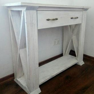Белая деревянная консоль. Стол-тумба для гостиной или в спальню.