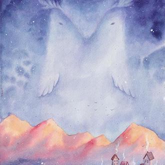 Акварель, принт А4, плакат, постер, сова.