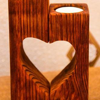 """Подсвечник деревянный, парный """"Сердце""""."""