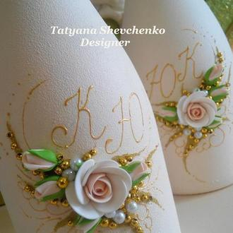 Свадебное шампанское в золотых тонах