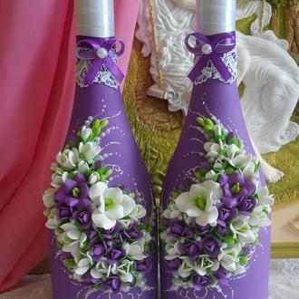 """Свадебное шампанское в фиолетовых тонах """"Фрезия"""""""