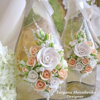 """Свадебное шампанское """"Нежность"""" в бежевом цвете"""