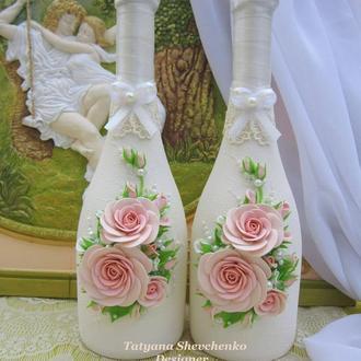 """Свадебное шампанское """"Romantik"""" в цвете пудры"""