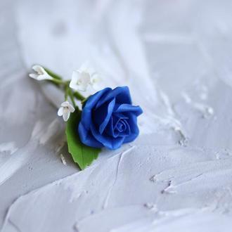 Бутоньерка на пиджак жениху. Холодный фарфор. Синяя роза. Свадьба. Выпускной