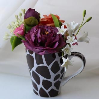Букет цветов вылепленных из глины. Холодный фарфор.