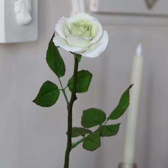 Белая роза в полный рост. Холодный фарфор. Оригинальный, стильный подарок.