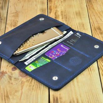 Кожаное портмоне для телефона, кредиток и денег