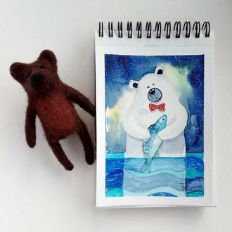 """Открытка авторская """"Медвежье счастье"""""""