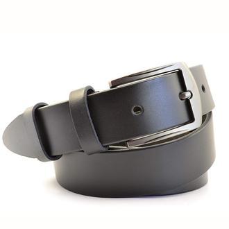Испанский чёрный матовый ремень шириной 3,5 см с серой пряжкой, Стиль - унисекс.