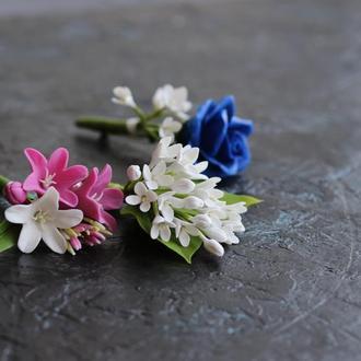 Свадебная бутоньерка на пиджак жениху. Розы, колокольчики, сирень. Холодный фарфор. Полимерная глина