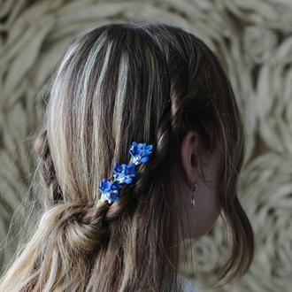 Синяя сирень в волосы. Шпилька. Свадебное украшение. На выпускной. Мелкие цветы в прическу. ХФ