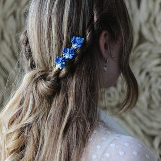 Синяя сирень в волосы. Шпилька. Свадебное украшение. На выпускной. Мелкие цветы в прическу.