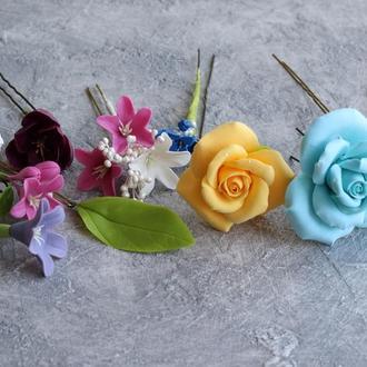 Цветы в волосы из холодного фарфора. Ориганальное украшение. Шпилька. Роза. Колокольчики. Фрезия.