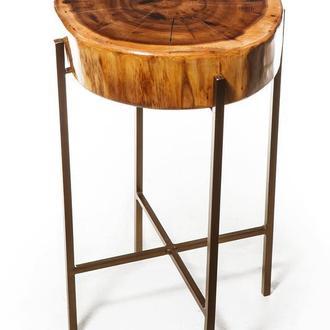 Барный стул из натурального дерева и металла