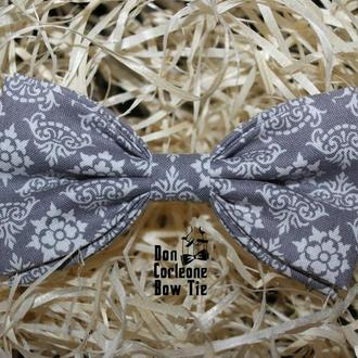 Галстук-бабочка серая с узорами