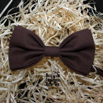 Галстук-бабочка коричневая однотонная / Краватка-метелик коричнева однотонна