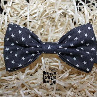 Галстук-бабочка серая со звездами / Краватка-метелик сіра з зірочками
