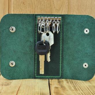 Кожаная ключница для 6 ключей Карманый чехол для ключей