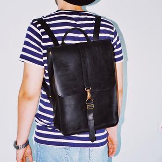 """Кожаный рюкзак """"Вестер"""" в черном цвете"""