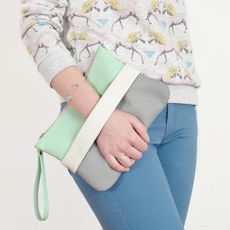 """Клатч - сумочка через плечо """"CarryMe"""". Мятный + серый. Эко кожа"""