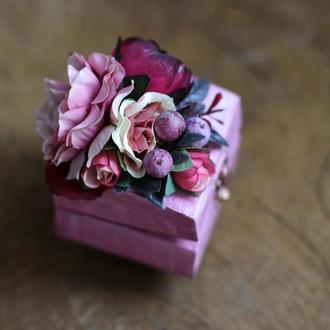 Шкатулка Розово-Бордовая