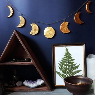 """Гирлянда """" Луна"""" Золотая подвеска на стену """"Лунные фазы"""""""