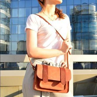 Кожаная женская  сумочка через плечо коньяк  Сэтчел