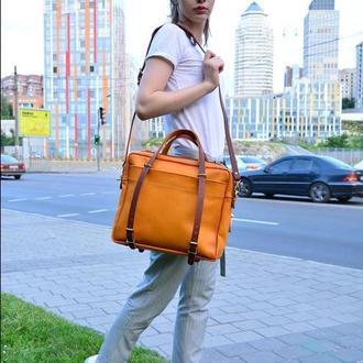"Кожаная мужская сумка через плечо желтая-янтарь""Бизнес сумка"""