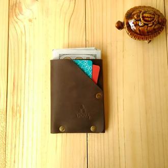 Мінімалістичний шкіряний гаманець Дощ GROFA, коричневий