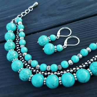 Комплект украшений браслет и серьги бирюза
