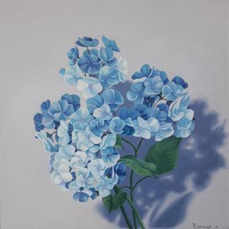 Ніжна блакитна гортензія, картина олією на полотні, квіти, квітковий живопис.