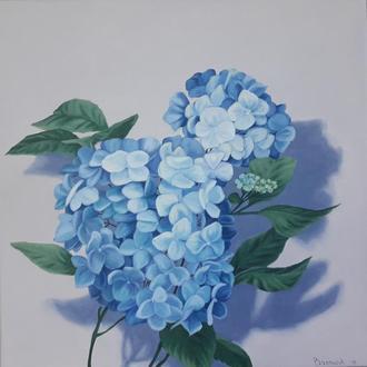 Гортензия, нежно голубого цвета, цветочная живопись маслом, картина маслом размером 24х24см
