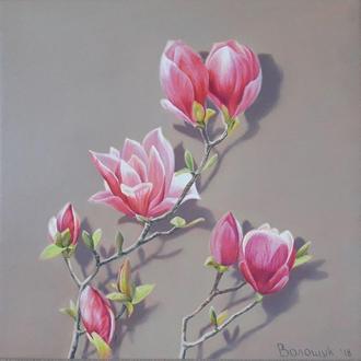 Розовые магнолии, картина маслом на холсте, размер 24х24см