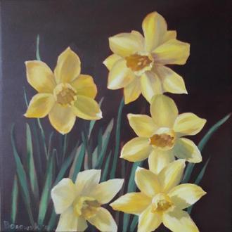 Цветы нарциссы, картина маслом на холсте, размер 24х24см