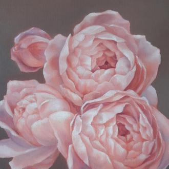 Розовые пионы, картина маслом на холсте