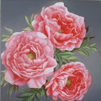 Розовые пионы, картина маслом на холсте,