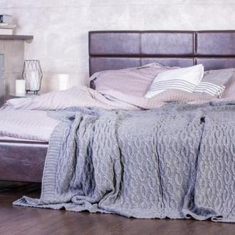 Покрывало вязаное Vividzone ОРАНЫ 200х200 серый