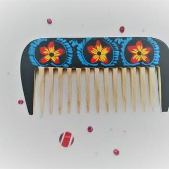 Деревянная расческа с редкими зубьями Бусинка
