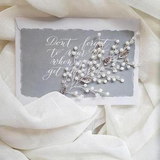 Веточка для волос,  свадебное украшение для волос, веточка в прическу