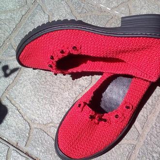 Туфли женские летние вязаные ручной работы