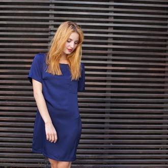 Синее платье, шелковое платье, красивое платье, летнее платье, стильное, прямой силуэт